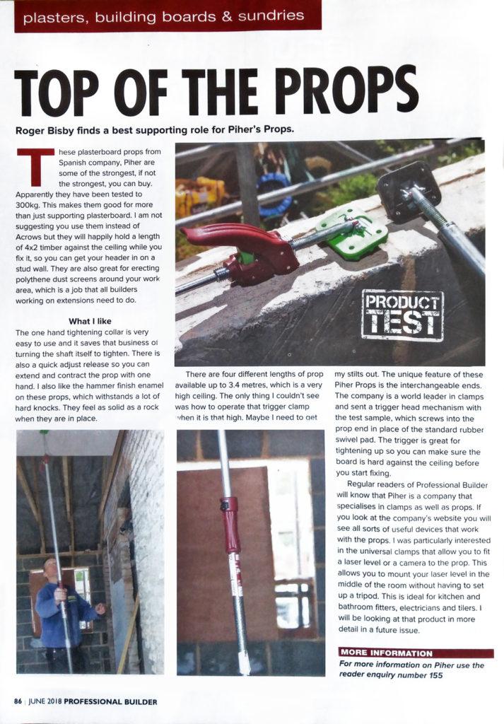 Piher Multiprop Test in Professional Builder magazine